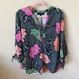 NWT! Eloquii floral tie sleeve henley blouse #505